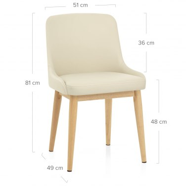 Jersey Chair Oak & Cream Faux Leather