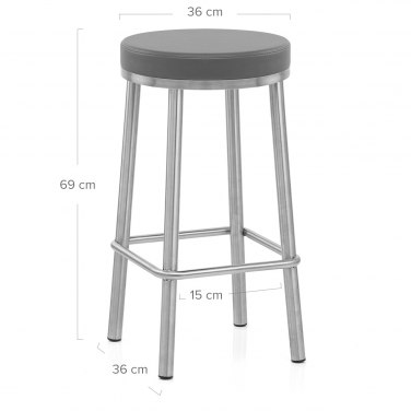 Vision Brushed Steel Stool Grey