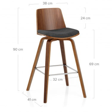 Mirage Wooden Stool Charcoal Fabric