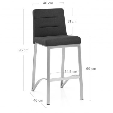 Stella Brushed Steel Stool Charcoal Fabric