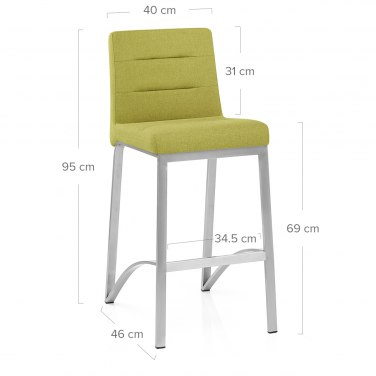 Stella Brushed Steel Stool Green Fabric