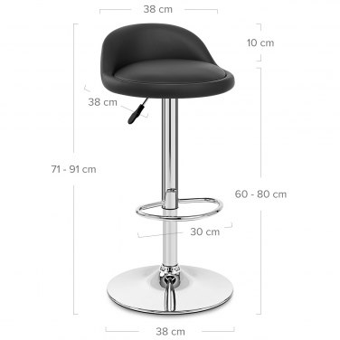 Lulu Real Leather Stool Black