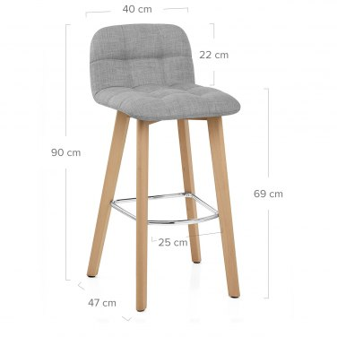 Hex Wooden Stool Grey Fabric