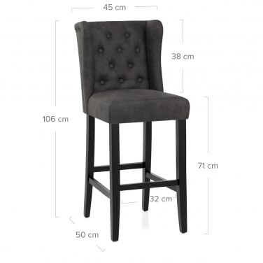 Pemberley Bar Stool Antique Charcoal