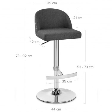 Boutique Bar Stool Charcoal Fabric
