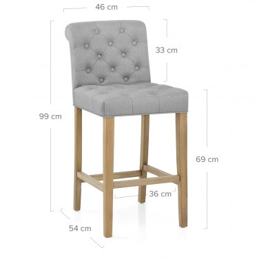 Chesterfield Oak Stool Grey Fabric