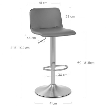 Cape Brushed Steel Stool Grey Dimensions