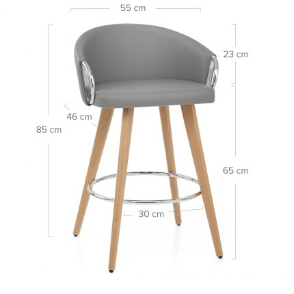 Neo Wooden Stool Grey Leather