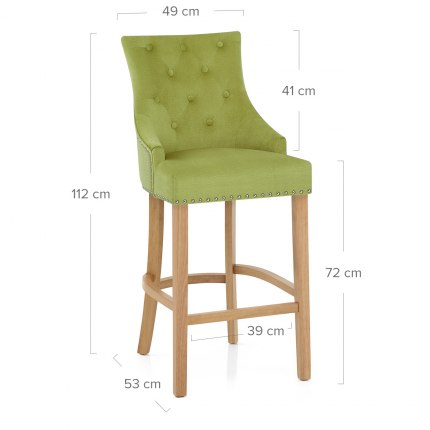Ascot Oak Stool Green Fabric
