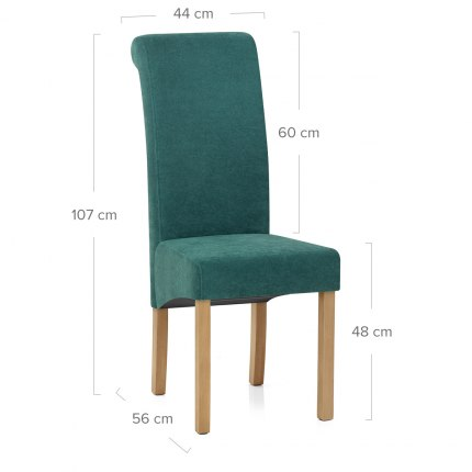 Carolina Dining Chair Teal Fabric Dimensions