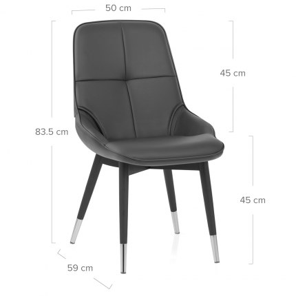 Dynasty Dining Chair Grey Leather