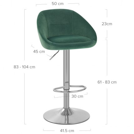Decco Brushed Stool Green Velvet Dimensions