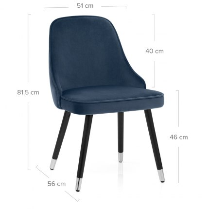 Glam Dining Chair Blue Velvet