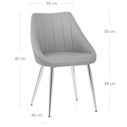 Tempo Dining Chair Light Grey Dimensions