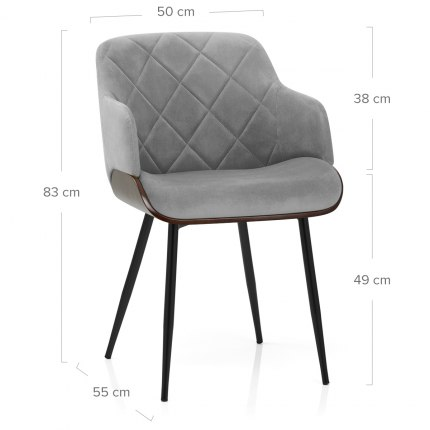 Dakota Dining Chair Grey Velvet Dimensions