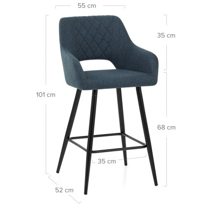 Lopez Bar Stool Blue Fabric Dimensions