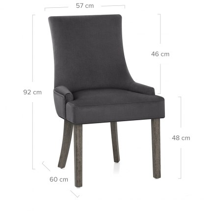 Richmond Grey Oak Chair Charcoal Fabric Dimensions