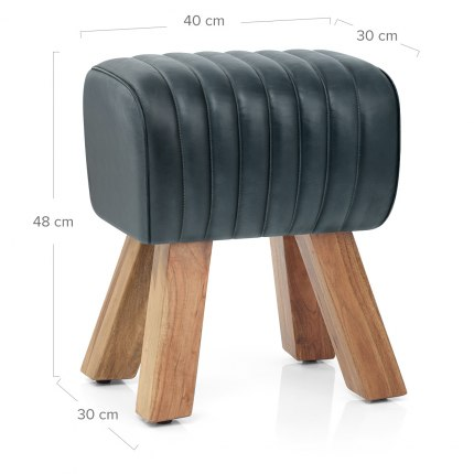 Mini Pommel Stool Antique Slate Leather