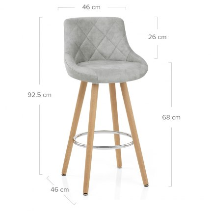 Fuse Wooden Stool Light Grey Dimensions