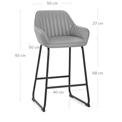 Kanto Real Leather Bar Stool Grey Dimensions