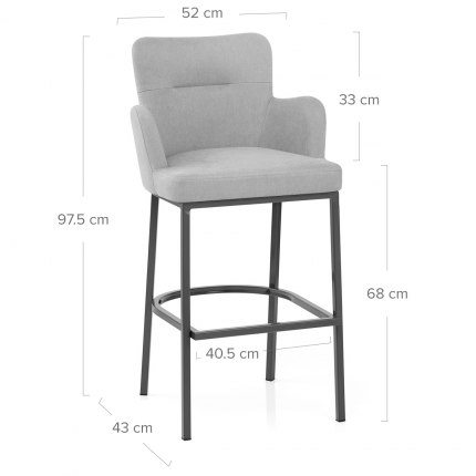 Porter Bar Stool Grey Fabric Dimensions