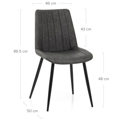 Camino Dining Chair Antique Charcoal Dimensions
