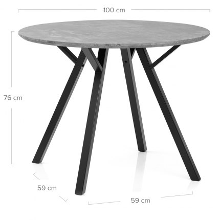 Quest 100cm Dining Table Concrete Dimensions