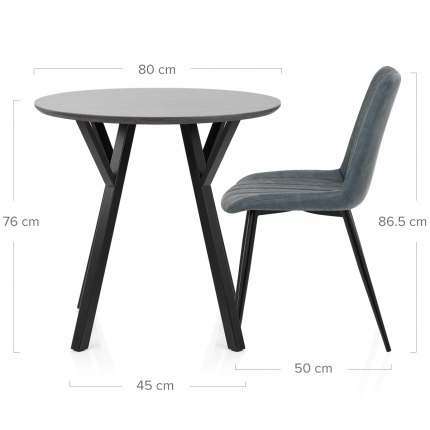 Wessex Dining Set Grey Wood & Blue Dimensions