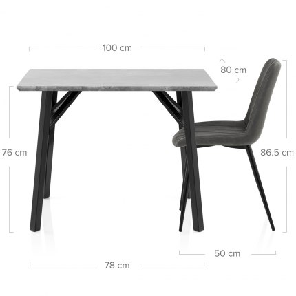 Warwick Dining Set Concrete & Charcoal Dimensions