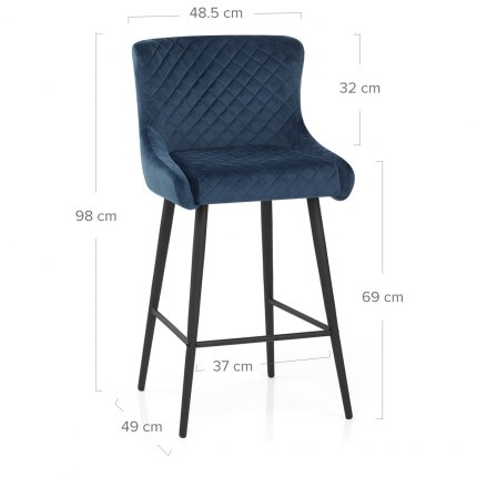 Provence Bar Stool Blue Velvet Dimensions