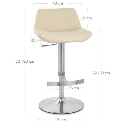 Christiana Brushed Stool Cream Dimensions