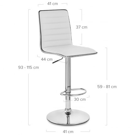 Hiline Bar Stool White Dimensions