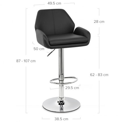 Manhattan Bar Stool Black Dimensions