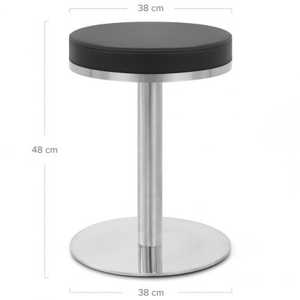 Tuck Brushed Steel Stool Black Dimensions