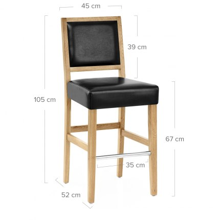 Jasper Leather Bar Stool Oak & Black