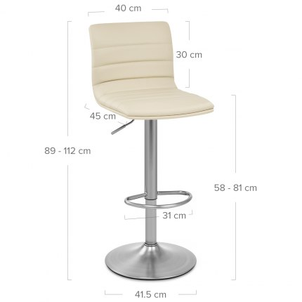 Linear Brushed Steel Bar Stool Cream Dimensions