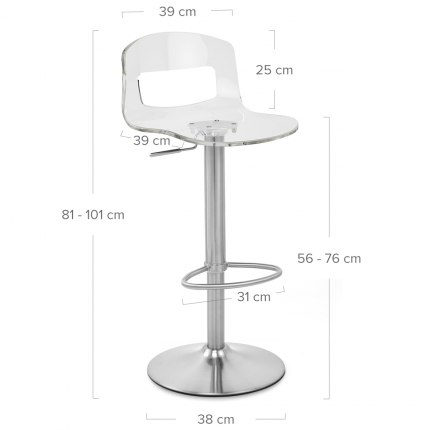 Stardust Brushed Steel Stool Clear Dimensions