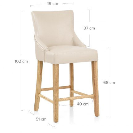 Magna Oak & Cream Faux Leather Stool