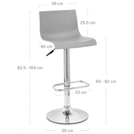Serena Bar Stool Grey Dimensions