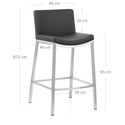 Capone Brushed Steel Stool Black
