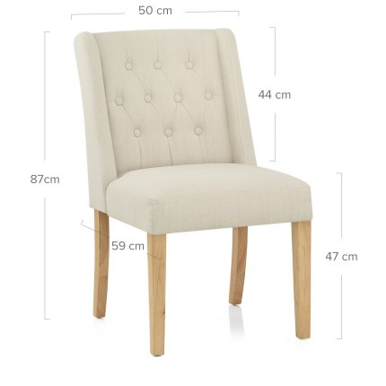 Chatsworth Oak Dining Chair Cream Dimensions