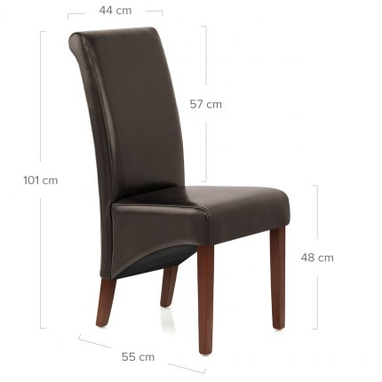 Carlo Walnut Chair Brown Leather