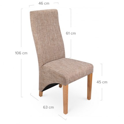 Baxter Dining Chair Tweed Dimensions