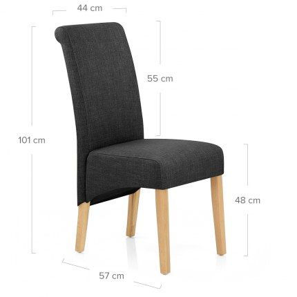 Carlo Oak Chair Charcoal Fabric Dimensions