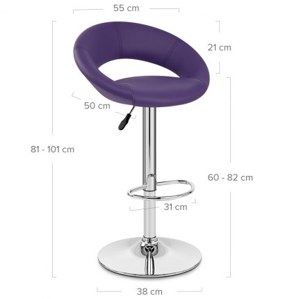 Padded Crescent Bar Stool Purple Dimensions