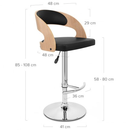 Eve Oak Bar Stool Black Dimensions