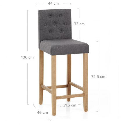Brookes Oak Stool Charcoal Fabric Dimensions
