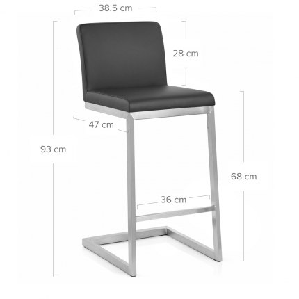 Ace Brushed Steel Stool Black Dimensions