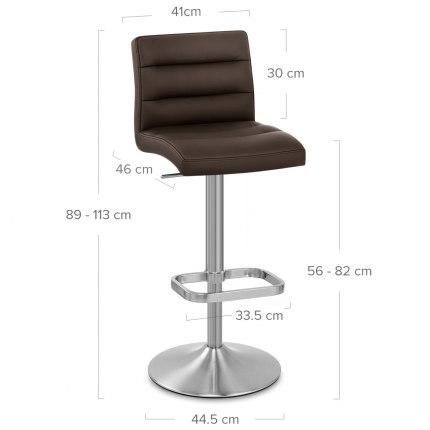 Lush Brushed Steel Bar Stool Brown Dimensions