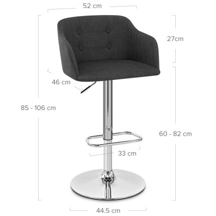Belmont Bar Stool Charcoal Dimensions